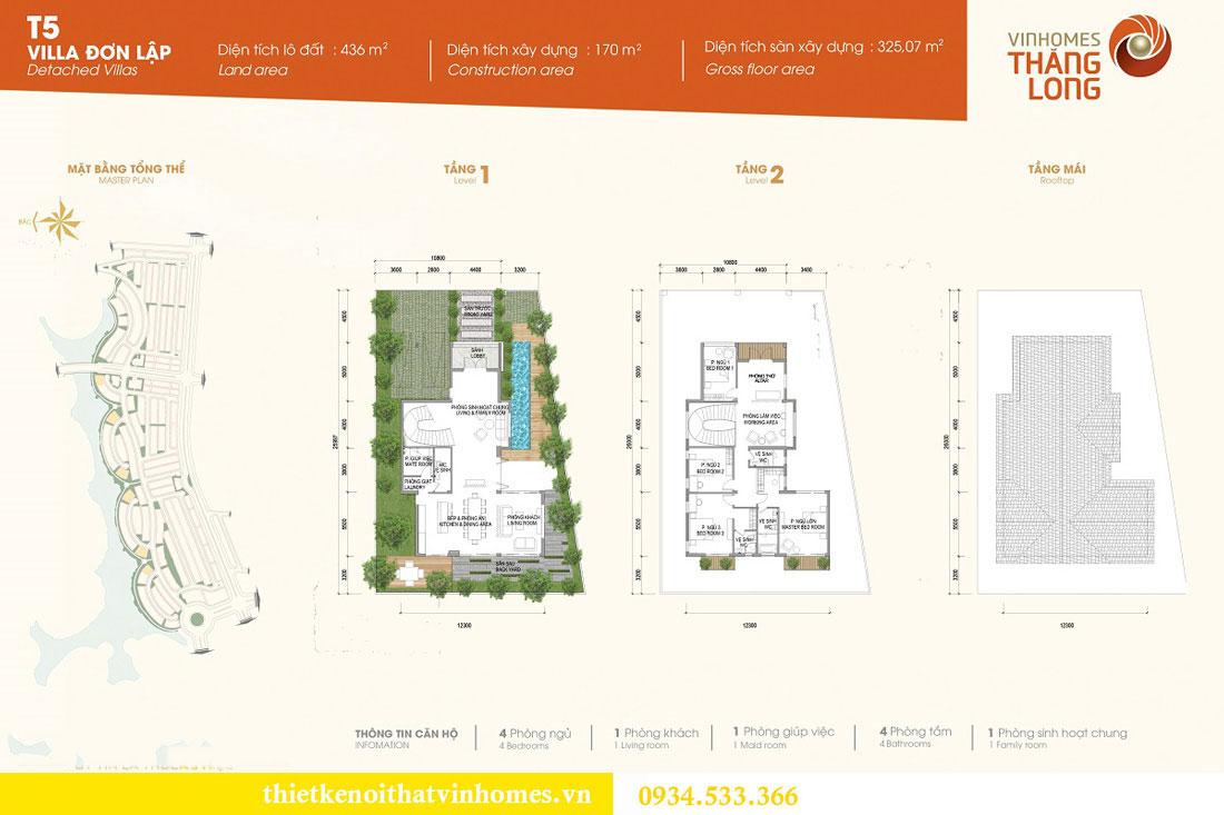 Thiết kế nội thất biệt thự Vinhomes Thăng Long 1