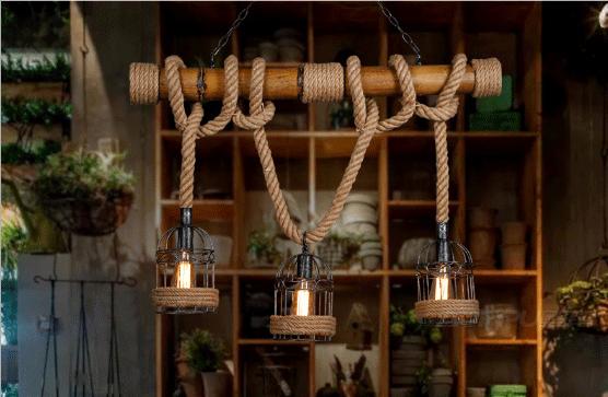 Image result for trang trí quán cafe bằng dây thừng