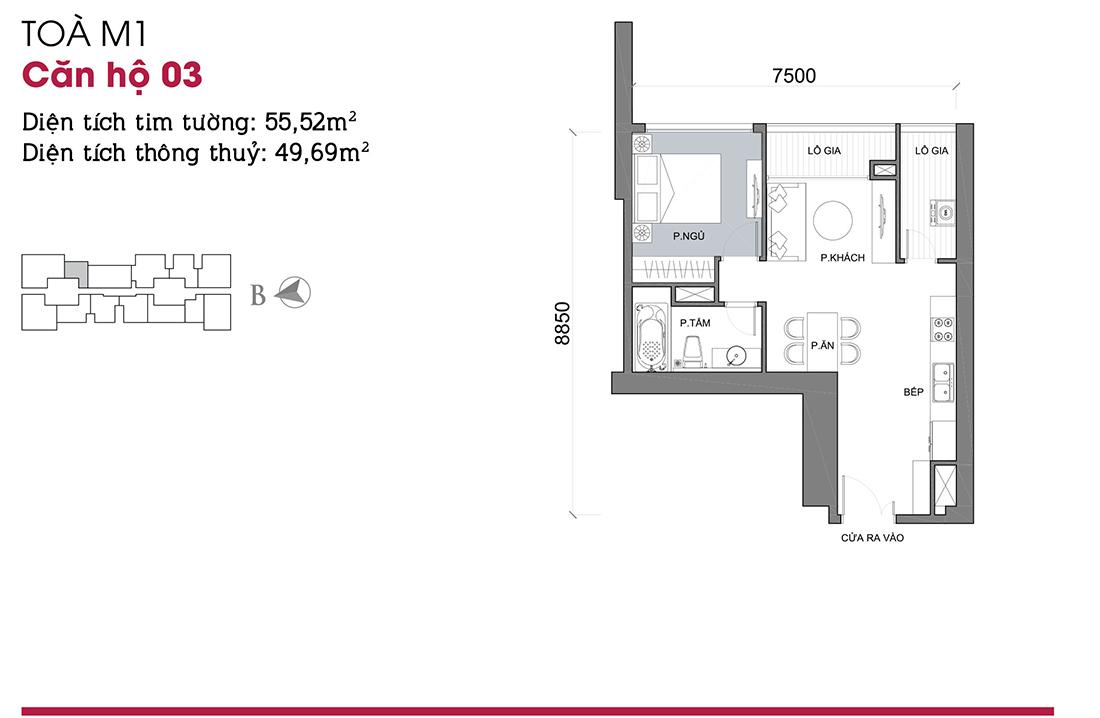 thiết kế nội thất căn 1 phòng ngủ vinhomes metropolis liễu giai ba đình