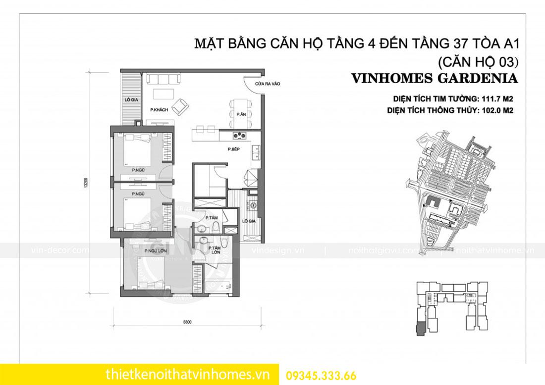 Nội thất chung cư Vinhomes Gardenia căn 03 tòa A1 view 1