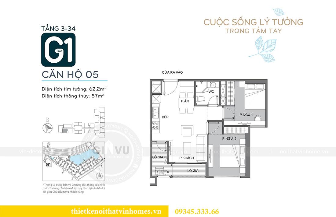 Mặt bằng thiết kế nội thất chung cư Green Bay Mễ Trì căn 05 tòa G1 - Chị Lan