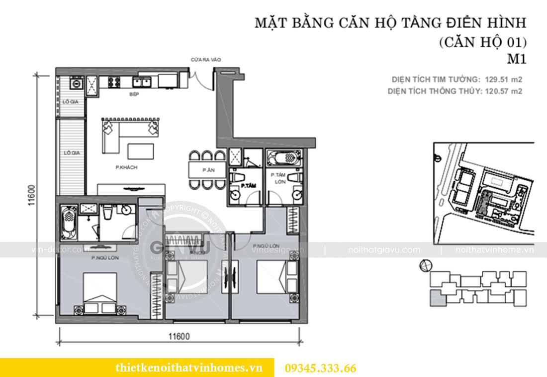 Mặt bằng thiết kế nội thất Vinhomes Metropolis tòa M1 căn 01 nhà chị Trang