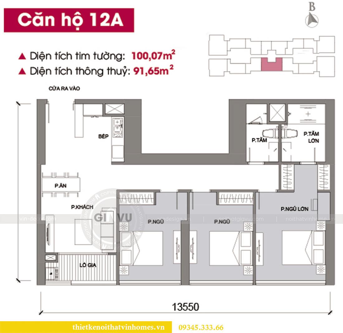 Mặt bằng thiết kế nội thất chung cư Vinhomes Metropolis tòa M2 căn 12A - chú Hậu