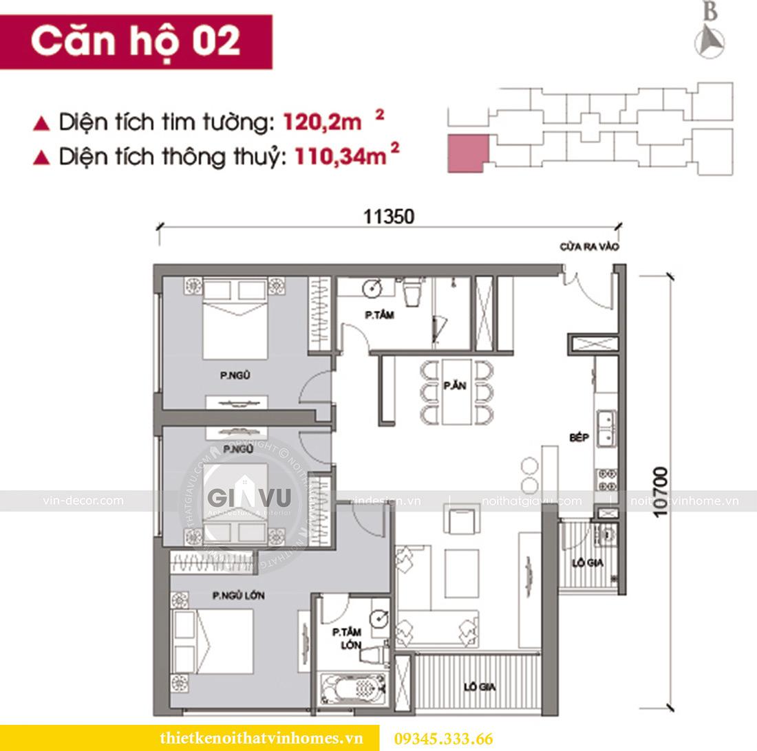 Mặt bằng thiết kế nội thất Vinhomes Metropolis căn 02 tòa M2 sang trọng, đẳng cấp