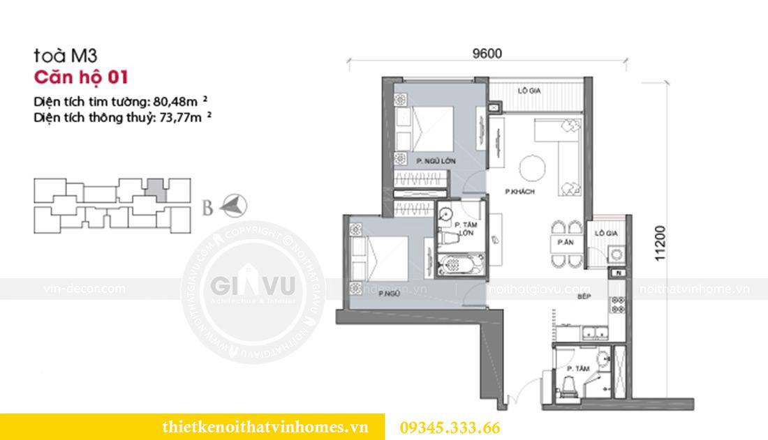 Mặt bằng thiết kế nội thất Vinhomes Metropolis tòa M3 căn 01 - anh Thịnh