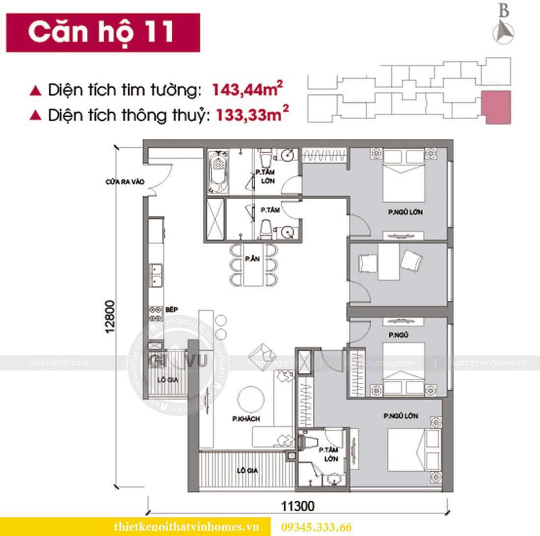 Mặt bằng thiết kế nội thất căn hộ chung cư Metropolis tòa M2 11 nhà anh Thắng