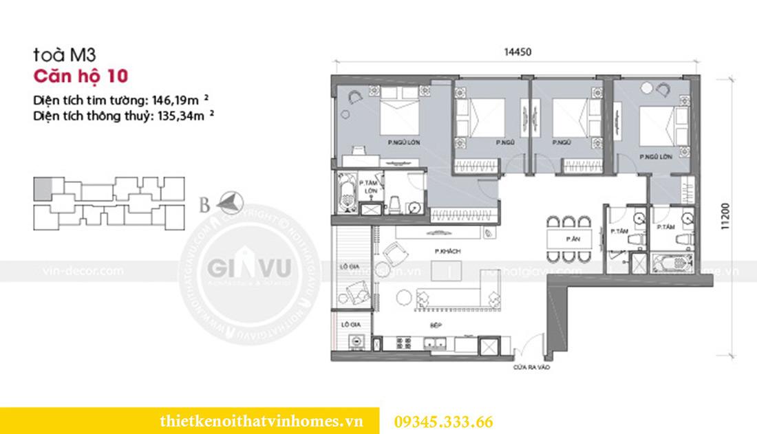 Mặt bằng thiết kế nội thất Vinhomes Metropolis căn 10 tòa M3 - cô Liễu