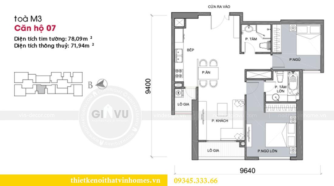 Mặt bằng thiết kế nội thất Vinhomes Metropolis Liễu Giai tòa M3 căn 07 nhà chị My