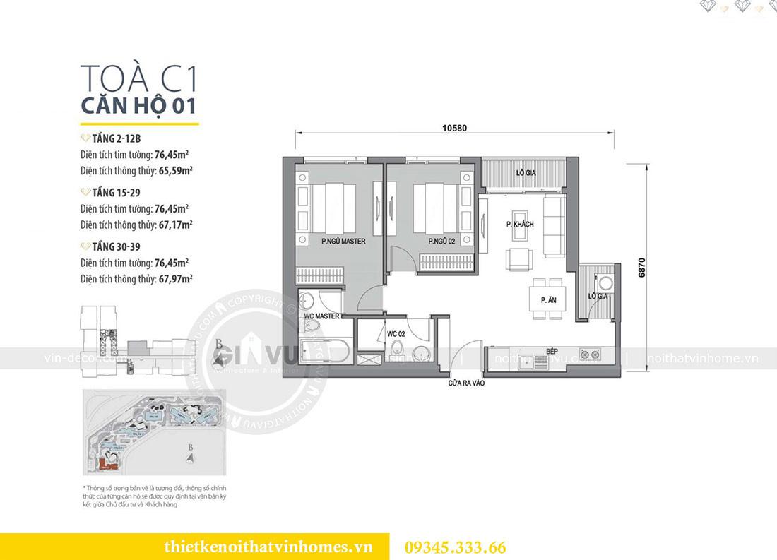 Mặt bằng thiết kế nội thất căn hộ 01 tòa C1 chung cư Dcapitale Trần Duy Hưng