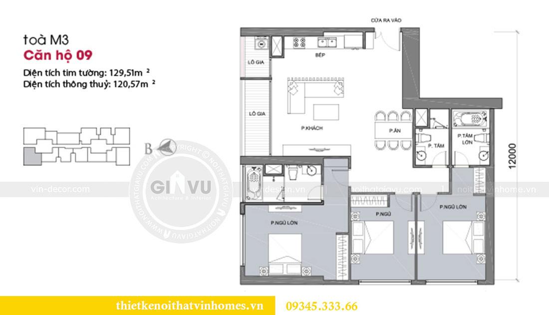 Mặt bằng thiết kế nội thất căn hộ Metropolis theo phong cách hiện đại