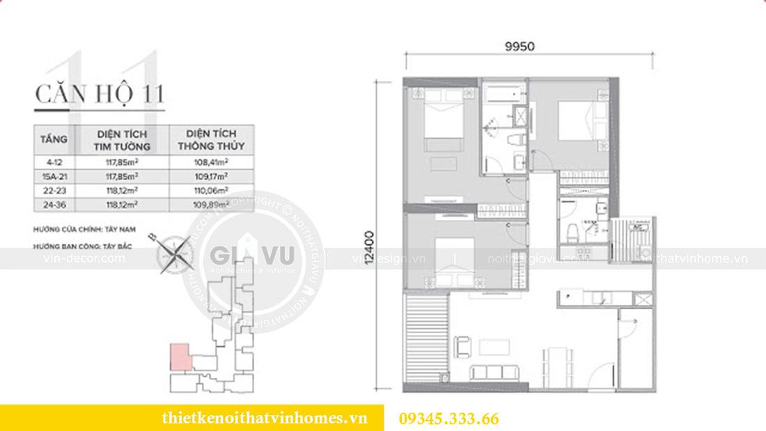Mặt bằng thiết kế nội thất căn hộ Sky Lake tòa S1 căn 11 - chị Hồng