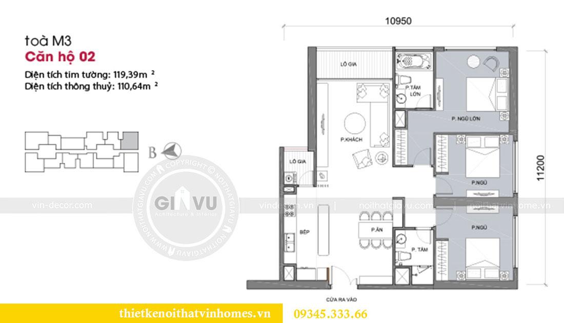 Mặt bằng thiết kế nội thất căn hộ Metropolis tòa M3 căn 02 - chị Thơm