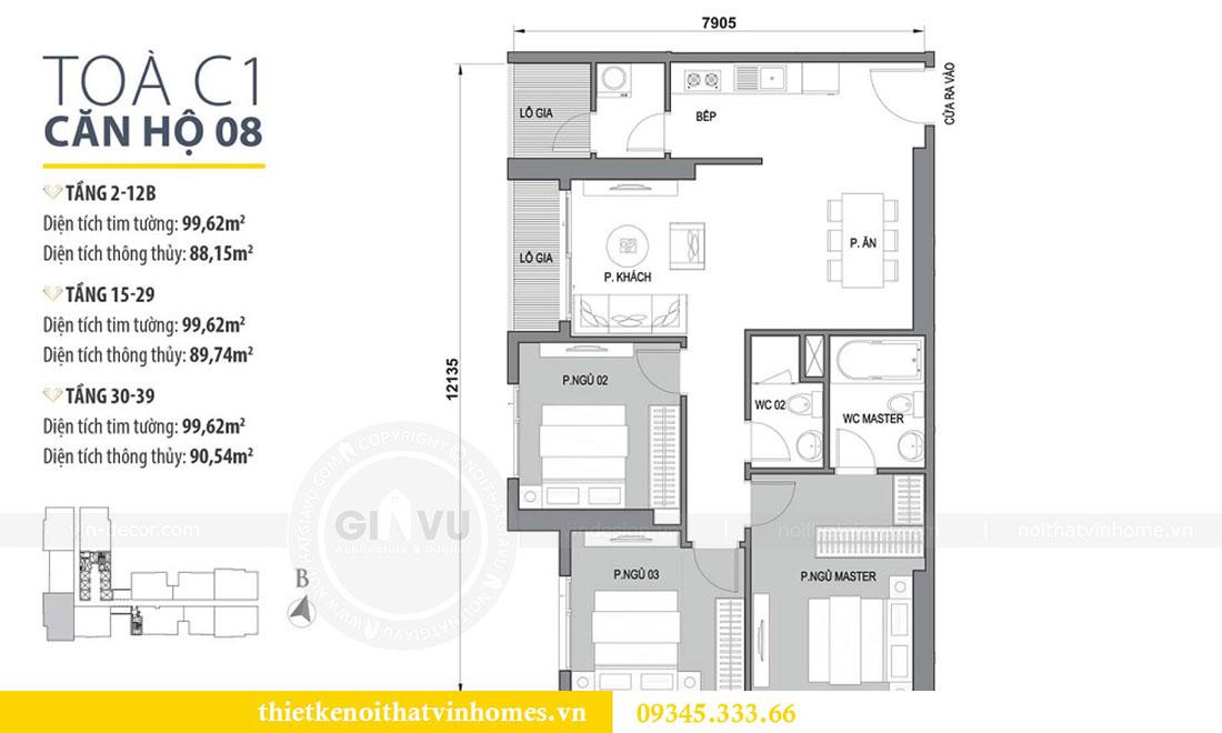 Mặt bằng thiết kế nội thất Vinhomes Dcapitale căn 3 phòng ngủ - anh Công