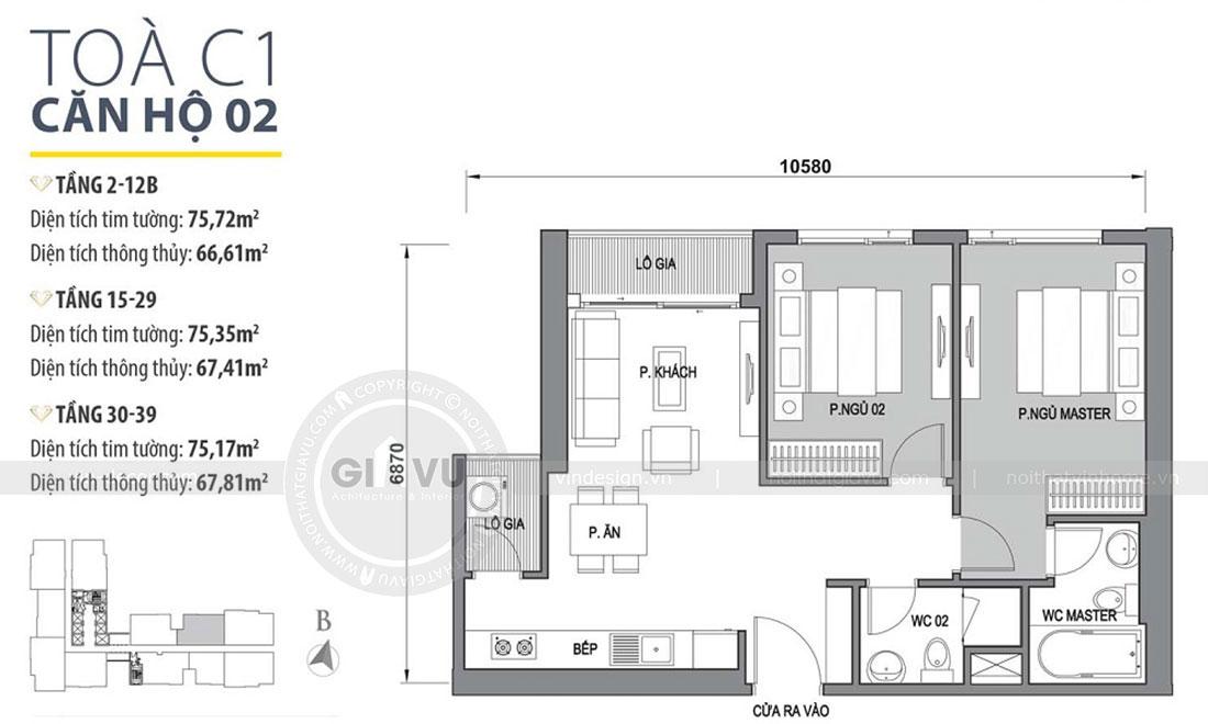 Mặt bằng thiết kế nội thất chung cư Dcapitale tòa C1