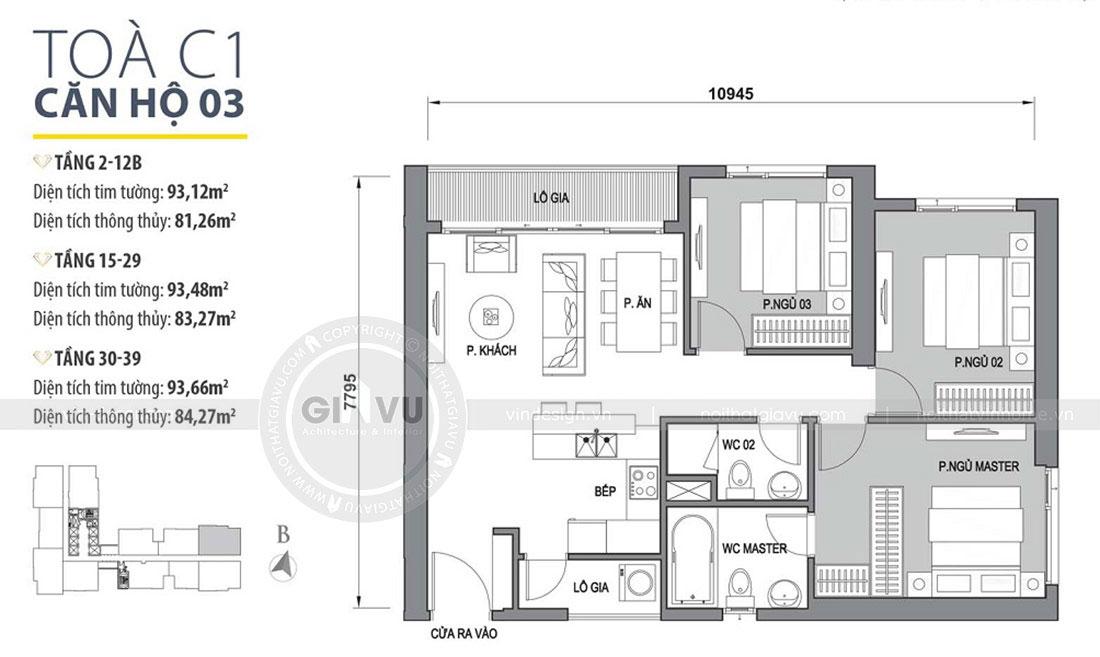 Mặt bằng thiết kế nội thất chung cư phong cách hiện đại anh Bình