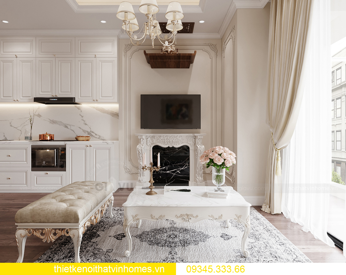 thiết kế nội thất căn hộ chung cư tân cổ điển nhà chị Như 4