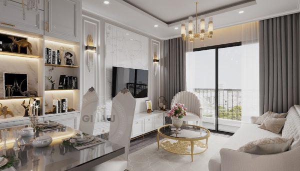thiết kế nội thất chung cư Smart City 2 ngủ nhà chị Hà 3