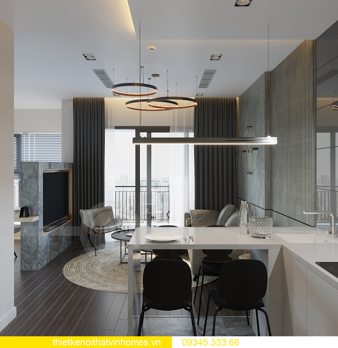 mẫu thiết kế nội thất căn hộ Smart City tòa S101 căn 11 2